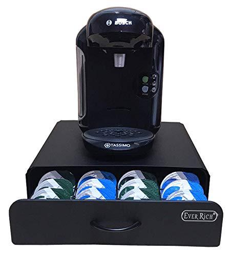 EVER RICH® Tassimo-Kapselaufbewahrung für 64 Stück, T-Disc Kaffeekapseln, Bosch Tassimo Ständer und Aufbewahrungsschublade, Anti-Vibrations-Design, schwarzes Metall. (Black Drawer 64)