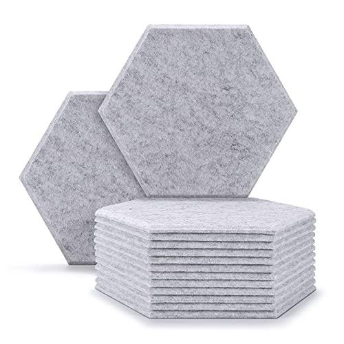 12 paneles de absorción acústica, AGPTEK de 30x26x0.9 cm, paneles hexagonales acústicos, paneles de aislamiento acústico ideal para decoración de paredes y tratamientos de insonorización-Gris plateado