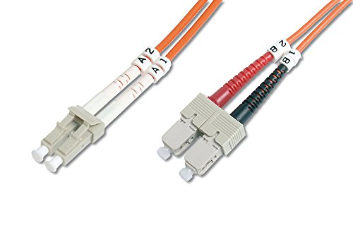 DIGITUS LWL Patch-Kabel OM2 - 2 m LC auf SC Glasfaser-Kabel - LSZH - Duplex Multimode 50/125µ - 10 GBit/s - Orange