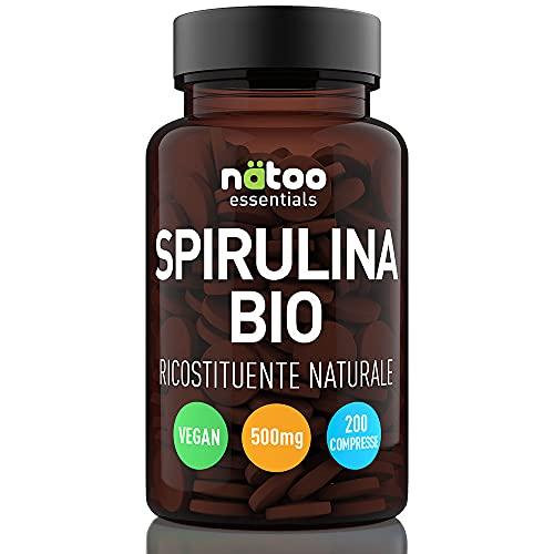 Natoo Essentials - Espirulina biológica – Vegan – con vitaminas y minerales – Sin excipientes – 500 mg 200 tabs