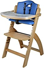 Abiie Beyond Wooden High Chair with Tray. The Perfect Seating Highchair Solution for Your Child As Toddler's or a Dining Chair (6 Months up to 250 Lb). (Natural Wood - Blue Cushion)