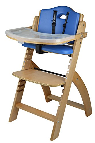 Abiie Beyond Wooden High Chair with Tray. The Perfect Adjustable Baby Highchair Solution for Your Babies and Toddlers or as a Dining Chair. (6 Months up to 250 Lb) (Natural Wood - Blue Cushion)