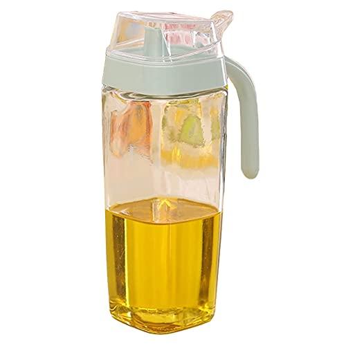 Botella dispensadora de aceite de oliva de vidrio de 550 ml con boquilla sin goteo, vinagre de aceite, botella de vinagre de cocina (azul claro)