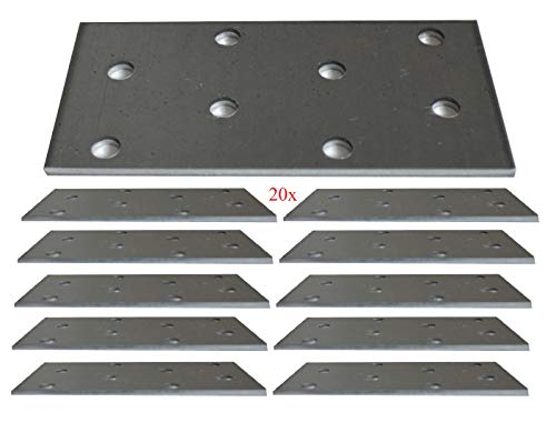 Flat Connecting Joining Plate Galvanised Structural Connectors Heavy Duty Metal Steel Sheet 3.15'x1.57'x0.08' (80 x 40 x 2mm) Pack of 20pcs