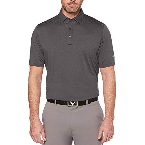 Callaway Men's Standard Micro Hex Solid Short Sleeve Golf Polo Shirt, Asphalt/Grey, XX-Large