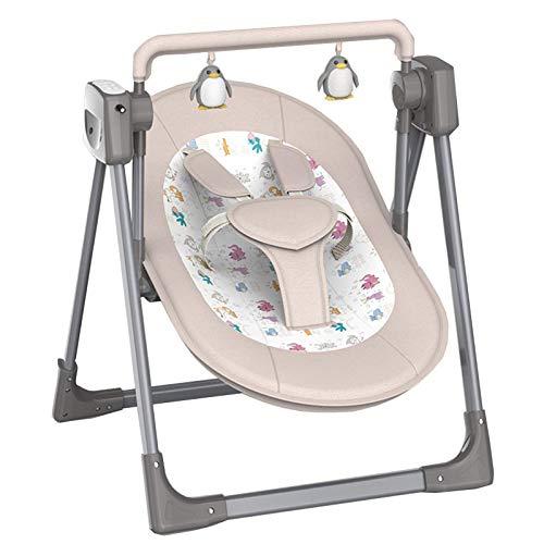 HAOSHUAI Cuna de Cuna eléctrica Inteligente bebé con mosquiteras, Silla Mecedora de Control Remoto de 0 a 36 Meses Niño (Color: Caqui) (Color : Khaki)