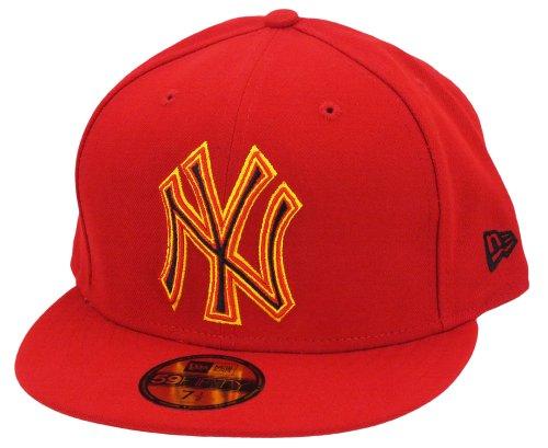 New era New York Yankees Cap Four Stitch Scarlet/Yellow - 7-56cm