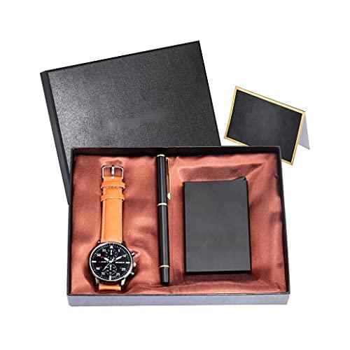 Diaod Reloj de Pulsera de Cuarzo para Hombre, Juego de Regalo, bolígrafo de Firma, Estuche para Tarjeta de crédito, graduación, cumpleaños, Aniversario, Regalo para Hombre (Color : Brown)