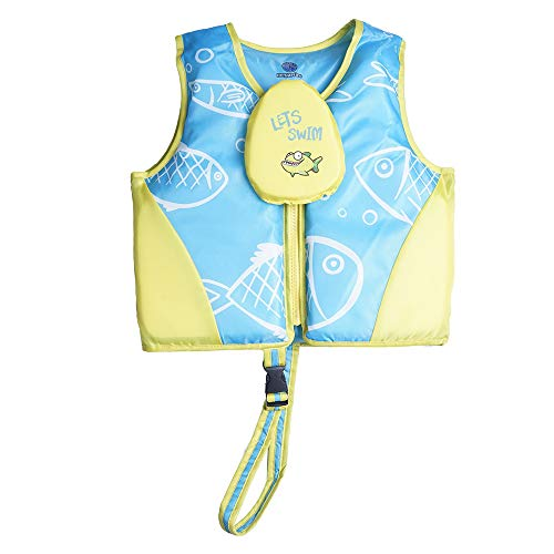 Megartico Swim Float Vest Kids Childrens Swimming Jacket Buoyant Aid with Zipper Cover (Blue/Yellow Bubble Fish, Medium)