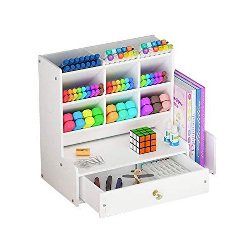 Pen Pencil Art Craft Organizer, Cute Office School Supplies Desktop Crayon Marker Organization Storage Cabinet Holder for Desk (White)