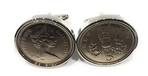 Premium 1970 Large Old style 5p coin for a 50th birthday cufflinks