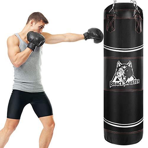 Brace Master Sac de frappe lourd pour boxe, MMA, kickboxing, entraînement pour homme et femme (sac lourd noir)