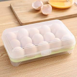 Boîte de rangement en plastique pour œufs - 15 compartiments - Récipient de stockage alimentaire en polypropylène pour réf...