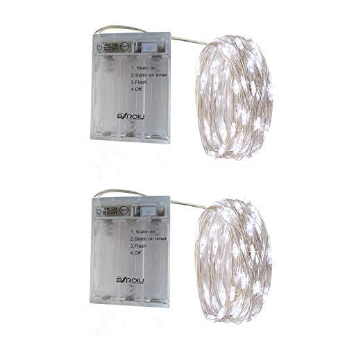 BXROIU 2 x 20er Micro LED Lichterkette Batterie betrieb und 3 Programm Timer Auf 2Meter Silberdraht für Party, Weihnachten, Halloween, Hochzeit Deko (Kaltes Weiß)