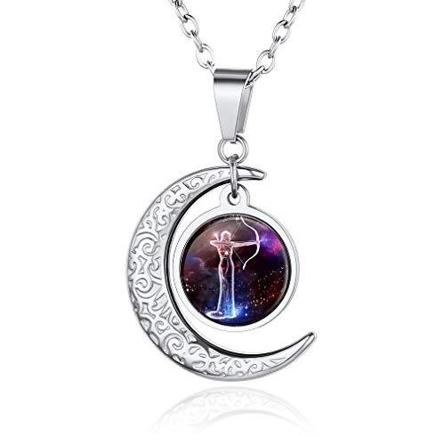 Custom4U Collar Hija Colgante Horóscopo Astrología Sagitario Sagittarius Noviembre Deciembre Accesorios Modernos de Cuello Collares Modernos de Sol Luna Creciente