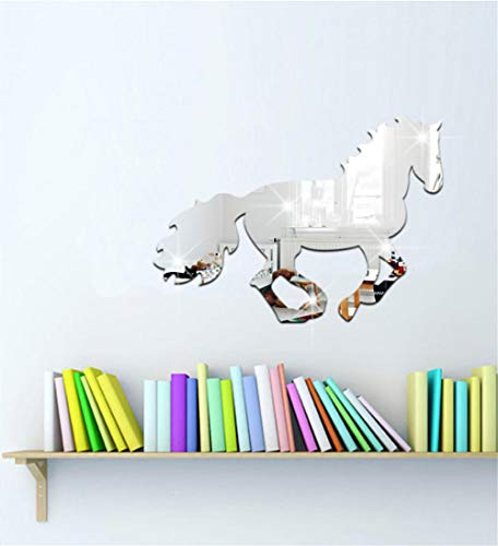 DIY Home Decoration Afneembare Muurstickers Acryl 3D Paard Spiegel Muurstickers met lijm Colour1