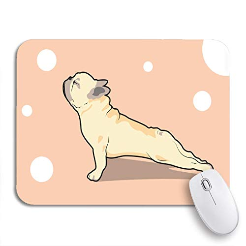 MIGAGA Gaming Mouse Pad Brown Quirky Cute French Bulldog Yoga Exercise Pink Animal 9.5'x7.9' Nonslip Rubber Backing Computer Mousepad for Notebooks Mouse Mats