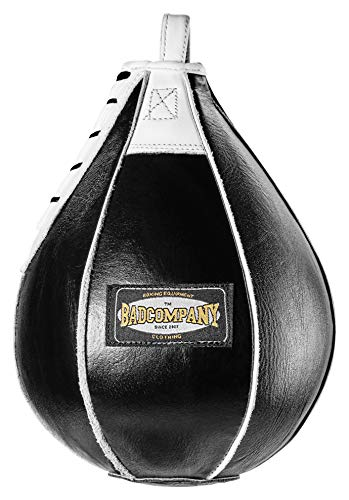 Bad Company Profi Leder Boxbirne medium schwarz/Leder Speedball im 6 Elementen Design