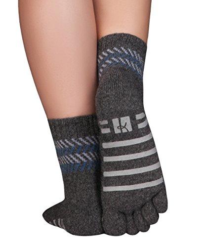 Knitido ABS Haussocken Home Merino Kaschmir, nahtlose Zehensocken ohne Gummiband, Größe:39-42, Farbe:dunkelgrau/blau (010)