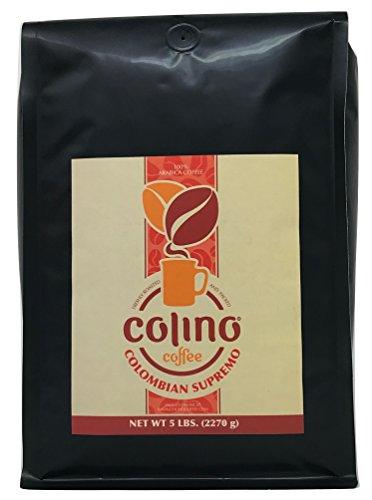 100% Colombian Supremo Ground Coffee Bulk Deal Bag, Fresh Gourmet Excelso Coffee Single Origin, Highest Quality Grade Dark Roast, Colino Coffee. (5 Pound)