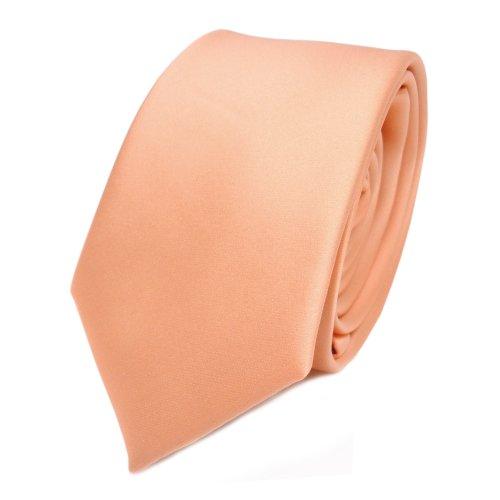TigerTie schmale Satin Krawatte in lachs orange hellorange einfarbig uni