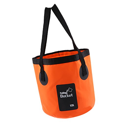 アウトドア キャンプ 釣り用 折りたたみ バケツ 水容器 水コンテナ バッグ 12L / 20L 全6色 - オレンジ, 12L