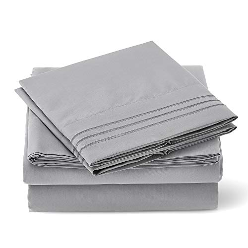 Love's cabin Queen Bed Sheets Set Grey, Luxury Brushed Microfiber 1800 TC Bed Sheets for Queen Size Bed, Wrinkle & Fade Resistant 4 Piece Hotel Sheets (1 Flat Sheet,1 Fitted Sheet,2 Pillow Cases)