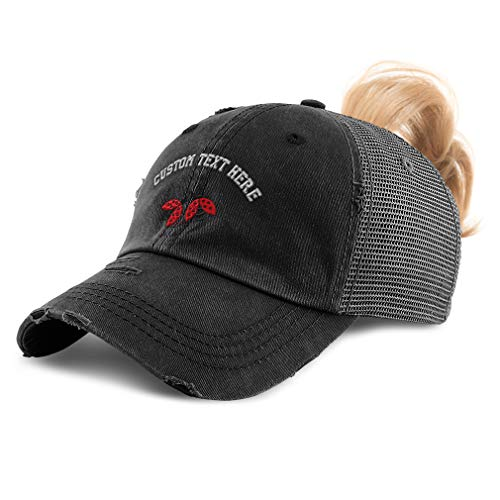 Custom Womens Ponytail Cap Lady Bugs Embroidery Cotton Messy Bun Distressed Trucker Hats Strap Closure Black Personalized Text Here