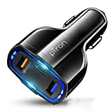 pTron Bullet Pro 36W PD Quick Charger, 3 Port Fast Car Charger Adapter - Compatible with All...