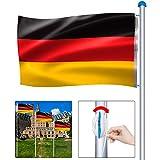 Froadp Höhenverstellbar Aluminium Fahnenmast Witterungsbeständigem Flaggenmast mit Deutschlandfahne Seilzug und Stabil Bodenhülse für Draussen Einbetonieren(Gesamthöhe 650cm)