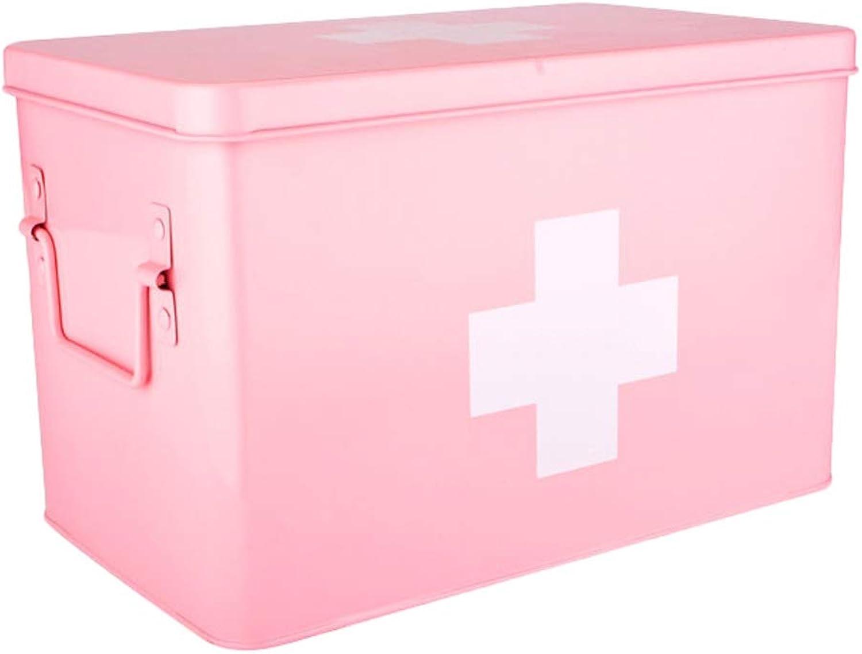 GLJJQMY Pill Box Medicine Storage Box Galvanized Iron Household Medicine Box Medicine Storage Box (color   Pink, Size   L21.5CM)