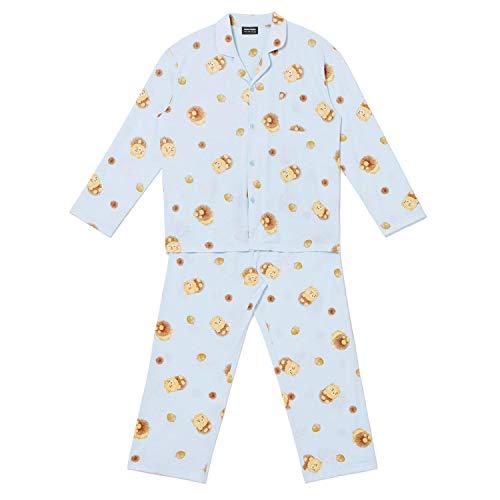 KAKAO FRIENDS Autumn Geschichte Bequeme weiche Männer Langarm Pyjama Nachtwäsche Startseite Schlafzimmer (Ryan) Blau