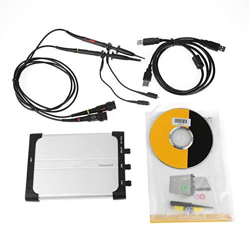 Naroote Osciloscopio para PC,Osciloscopio Vds1022I Osciloscopio Virtual de Aislamiento USB 100MSa / S 25M PC de Doble Canal Vds1022I