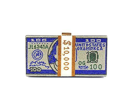 YIEBAI Bolso del dólar del Diamante Vestido del Bolso de la Cena Bolso del Embrague de Las señoras Bolso del Bolso del dólar del Diamante Artificial,Blue