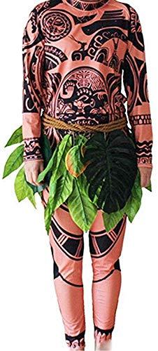 Herren Junge Kostüm Maui Tattoo Set Top T-Shirt Blättern Hosen Vater und Kinder Cosplay Kostüm Familie Matching Outfits (Kinder, Baby 140cm)