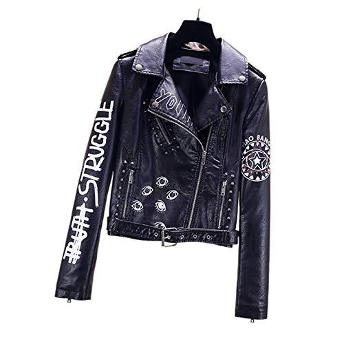 Biddtle Damen Biker Lederjacke Punk Hiphop Bunt Jacke Mit Gürtel Stud Revers Reißverschlussmanschetten Motorrad Mäntel,M