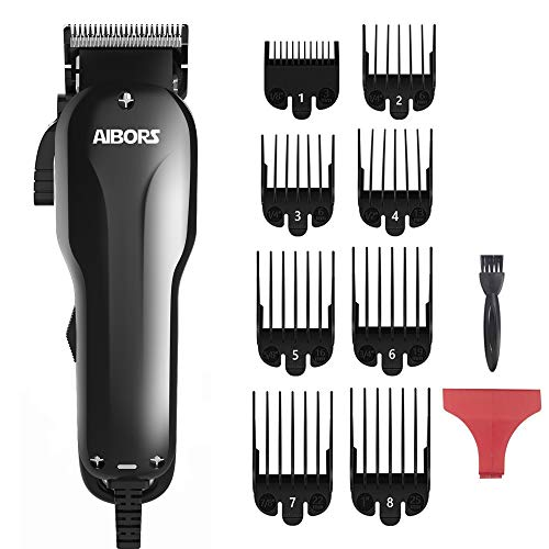 AIBORS Dog Clippers for Grooming for Thick Coats 2-Speed 12V High Power Professional Heavy Duty Quiet Plug-in Dog Grooming Clippers Kit, Dog Shaver Hair Trimmers for Cats and Other Pets (Gold-Yellow)