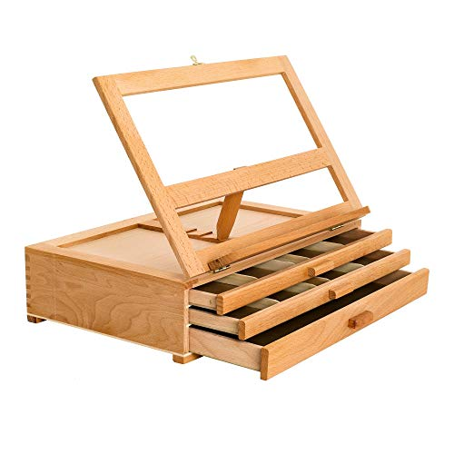 U.S. Art Supply Grand Solana Adjustable Wooden 3-Drawer Storage Box Easel, Premium Beechwood - Portable Wood Artist Desktop Case with Fold Down Canvas Easel Book Stand - Store Art Paint, Markers, Pens