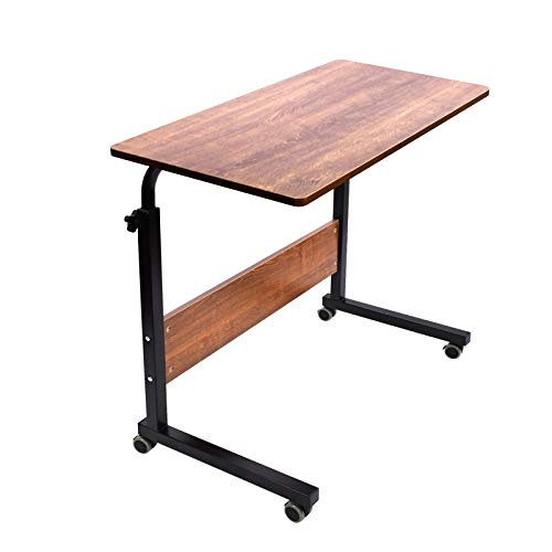 AIZ Portable Desk, Rolling Desk Portable Laptop Desk with Wheels, Laptop Cart Desk Cart Adjustable Side Table, Small Laptop Desk Tray Table Sofa Desk Bedside Table, Oak 31.5x15.7 inch