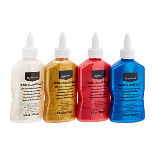 AmazonBasics Washable Pearlescent Metallic Glue, Assorted Colors, 5-oz each, 4-Pack