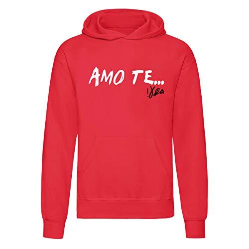 Art T-shirt, Felpa con Cappuccio Ti Amo Te Vasco, Unisex, Rosso, M