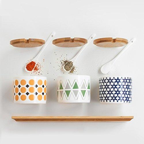 Keramik Gewürzdose dreiteilige Klage Gewürzkasten Gewürzbehälter Flasche Gewürzflasche Salzstreuer Zuckerglas Vorratsbehälter