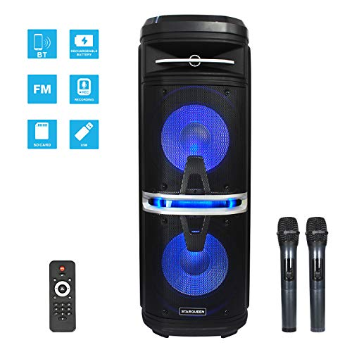 Karaoke Machine Bluetooth PA System Speaker with Dual 10 Inch Woofers Ideal for Speech Class and Family Party