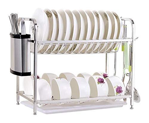 ZHANmaGS Escurridor de Platos Multifuncional Cocina Rack de Almacenamiento 304 Acero Inoxidable Cocina de Acero Inoxidable 2-Tier DRUCTOR DE Drenaje DE SECAJE MULTIFUNCION 0115