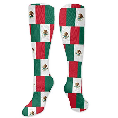 Bandera de Mxico para hombres y mujeres Calcetines largos de compresin hasta la rodilla Calcetines largos de tubo para viajes de ftbol Deportes atlticos Gimnasio