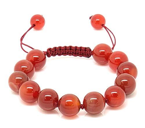 Jiveli brazalete de piedras preciosas de cornalina roja de 10 mm con nudos y macramé ajustable para equilibrar la energía y llevar a la moda