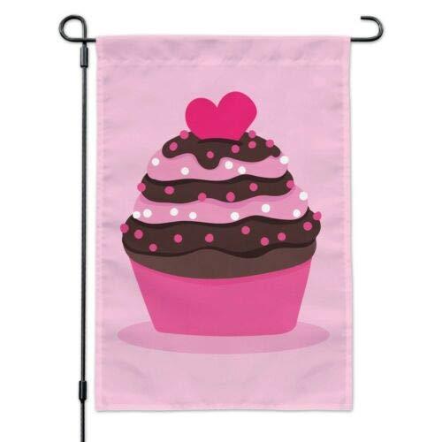 Dom576son Seizoensgebonden Tuinvlag, 28 x 40 Inch Outdoor vlag, Tuin Banner, Aardbei Chocolade Cupcake Liefde Hart Tuin Yard Vlag