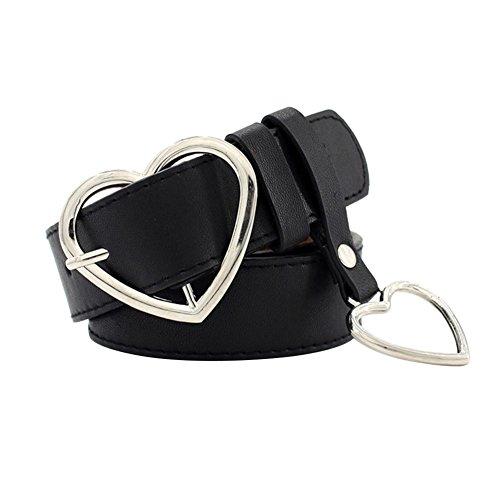 iShine Moda Casual Forma di Cuore Fibbia Ad Ardiglione Cintura Da Donna, Cintura in Pelle Decorativo