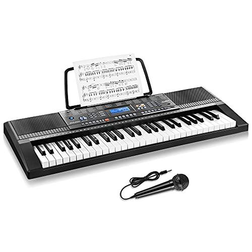 Moukey 54鍵盤 電子キーボード 350種類音色 350種類リズム LCDディスプレイ搭載 子供 初心者 練習用 USB/電池給電式 譜面立て付き ブラック