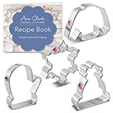 Ann Clark Cookie Cutters 4-Piece Winter and Christmas Cookie Cutter Set with Recipe Booklet, Snowflake, Sweater, Mitten and Winter Hat